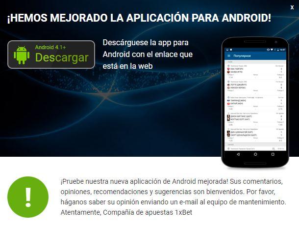 aplicación android 1xbet