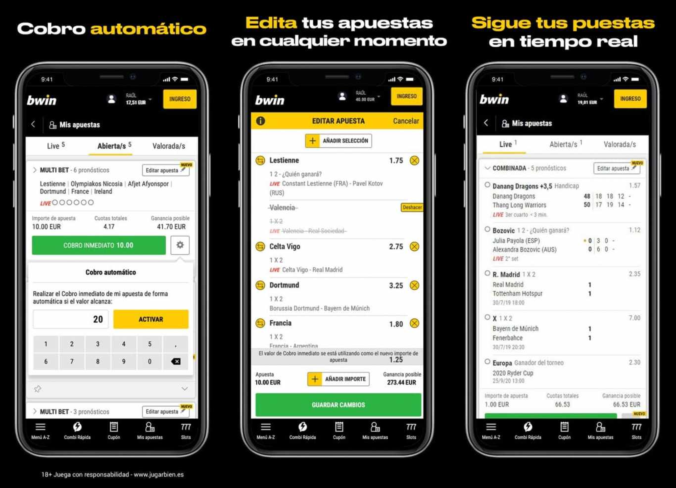 móvil de Bwin app